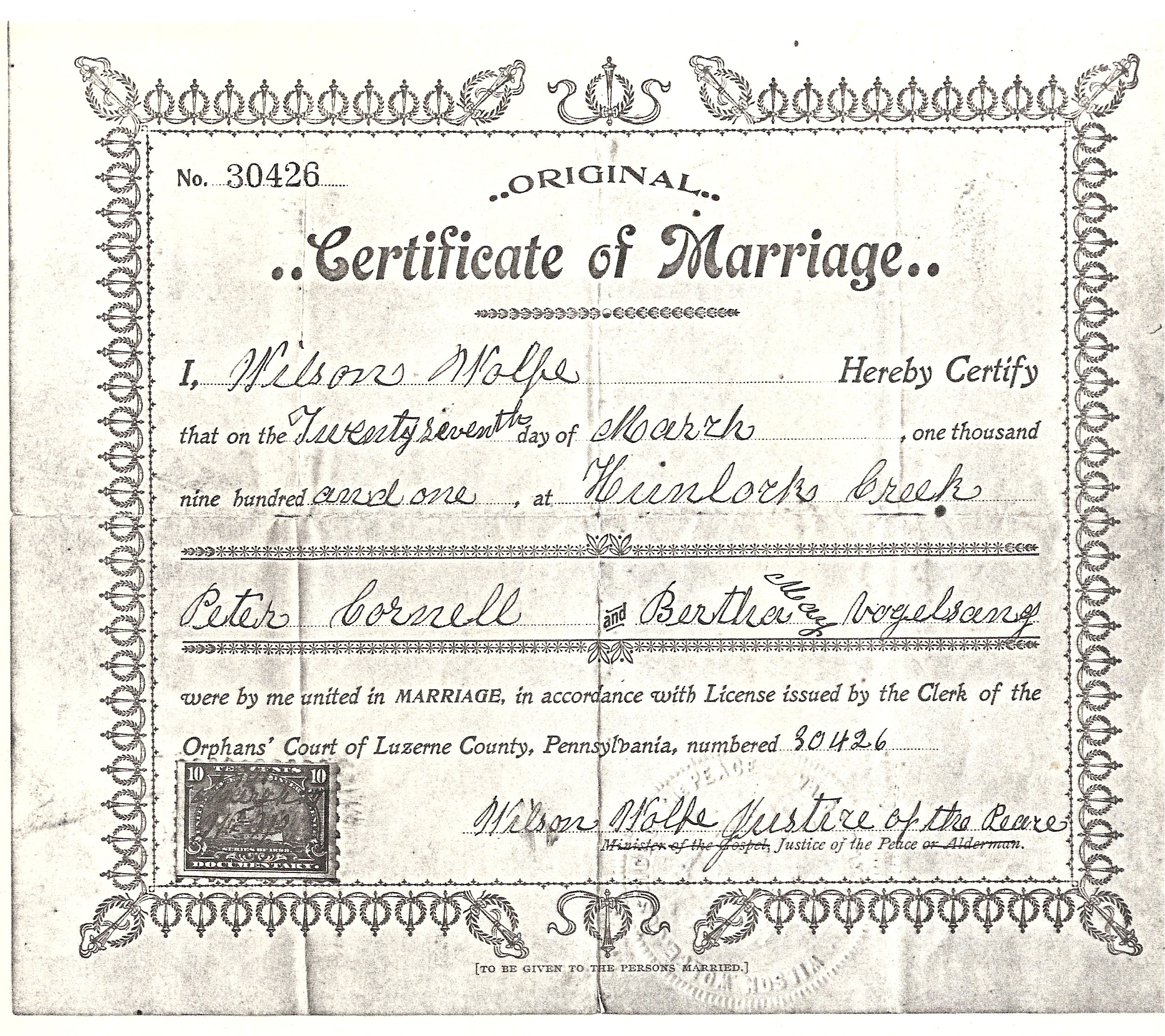 Marriage of Peter Cornell and Bertha May Vogelsang
